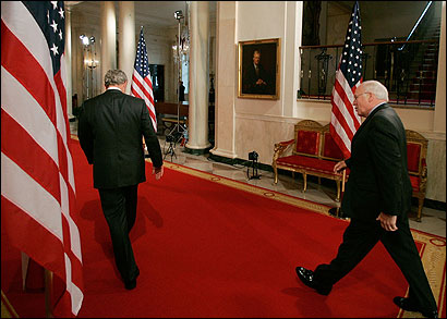 President Bush and Vice President Dick Cheney left the East Room after a news conference yesterday about new guidelines for treating detainees at Guantanamo.