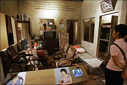 A replica of a small apartment at the Museum of Ethnology's exhibit 'Hanoi Life under the Subsidy Economy, 1975-1986.' The apartment would have housed an 8-member family during Vietnam's command economy period.