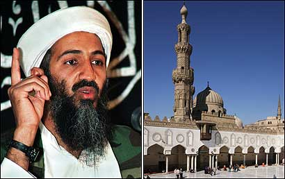 Osama bin Laden (left). At right, Cairo's revered Al-Azhar mosque, the traditional center of Islamic scholarship.