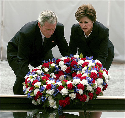 President Bush and his wife, Laura, (above) laid a wreath yesterday at ground zero, where 2,749 people died in the attack on the World Trade Center in Manhattan.