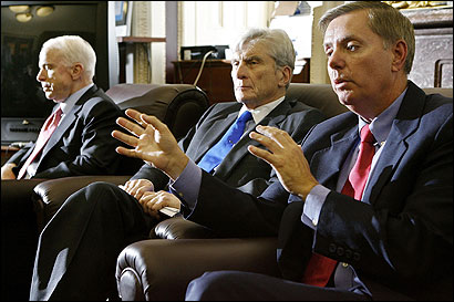 Senate Armed Services Committee members (from left) John McCain, John Warner, and Lindsey O. Graham said yesterday that they will continue to oppose White House provisions to limit a defendant's access to evidence if it is classified.