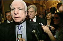 McCain (foreground) and John Warner (back, right) have backed bills intended to curb abuse of terrorism suspects.
