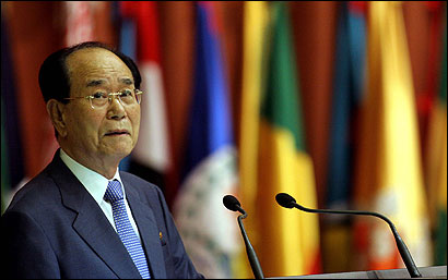 Parliament leader Kim Yong Nam says North Korea wouldn't need nuclear arms if America were not a threat.