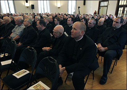 Hundreds of Roman Catholic priests listened Friday in Wynnewood, Pa., to victims of clergy sex abuse.