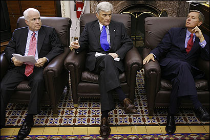 Members of the Senate Armed Services Committee: John McCain, chairman John W. Warner, and Lindsey O. Graham.