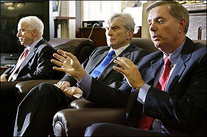 Senators John McCain (left), John W. Warner (center), and Lindsey O. Graham are opposed to changing the Geneva Conventions.