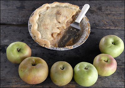 Nick Cowles apple pies at Shelburne Orchards.
