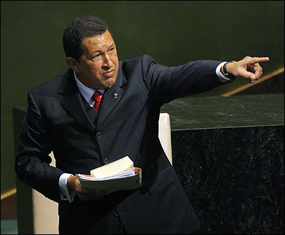President Hugo Chavez of Venezuela pointed to applauding delegates in the hall after addressing the 61st United Nations General Assembly in New York yesterday.