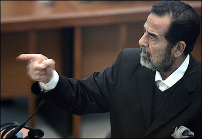 'Your father was a deputy in my security agency!' Saddam Hussein, responding to tribunal judge's order.