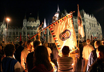 Protesters met at the parliament building yesterday in Budapest. Thousands of Hungarians protested Prime Minister Ferenc Gyurcsany's admission that he lied to win reelection.