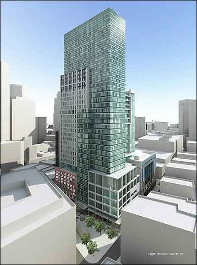 A rendering of the 495-foot tower planned for the Filene's site.