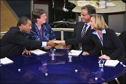 Democrat Deval Patrick (from left), Green-Rainbow candidate Grace Ross, independent Christy Mihos, and Republican Kerry Healey shook hands before the gubernatorial debate Sept. 25.