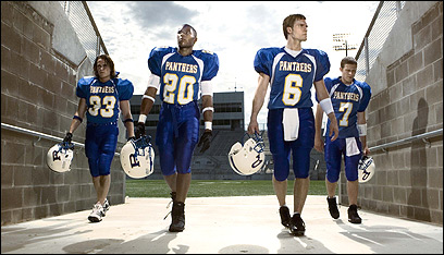 (l-r) Taylor Kitsch as Tim Riggins, Gaius Charles as Brian 'Smash' Williams, Scott Porter as Jason Sreet, Zach Gilford as Matt Saracen in NBC's 'Friday Night Lights.'
