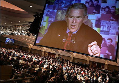 President Bush, shown addressing a conference on faith-based initiatives in March, has said he made changes 'on my own.'
