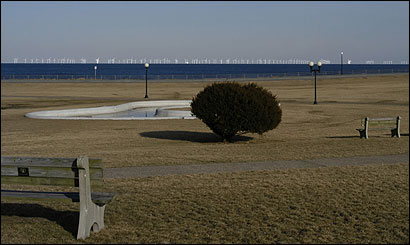 New computer simulations of Cape Wind provide views of how the project will look from some of the state's favorite vacation spots. Here's a view from Oak Bluffs in Martha's Vineyard.