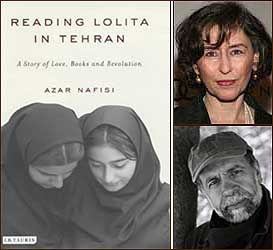 Author Azar Nafisi (top, right) and Columbia's Hamid Dabashi (below, right).