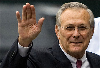 Donald Rumsfeld's departure from the Pentagon was cheered by both Democratic and Republican critics of US policy in Iraq.