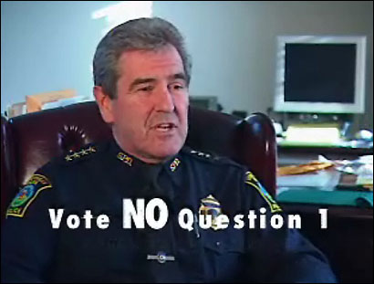 Chief Robert Bradley of Somerville appeared in an ad opposing Question 1. His message might have defeated the wine sales question.