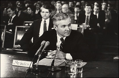 Robert M. Gates testified before a Senate committee in 1987 during a confirmation hearing for the top CIA post. He withdrew his name but was renominated and confirmed to the post in 1991.