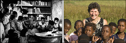 Left: A Peace Corps volunteer in the Philippines in the early 1960's. Right: An HIV/AIDS education Peace Corps volunteer in south Africa in a recent photo.