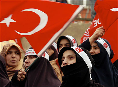 Women rallied in Istanbul against the pontiff 's visit.