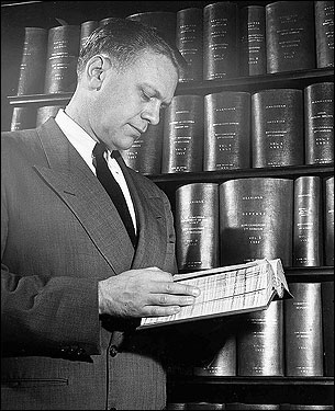 Ford began his congressional career in 1948, when upon encouragement by Republican US Senator Arthur Vandenberg, Ford challenged an isolationist Republican incumbent, defeated him by a nearly 2-to-1 ratio, and handily won the general election. He ran for reelection 12 times and never faced a serious challenge. Here Congressman Ford was at work in his office in 1950.