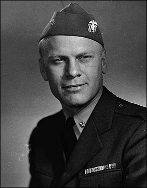 Ford briefly practiced law in Grand Rapids, Mich., before joining the Navy after the outbreak of World War II. He served aboard a carrier, the USS Monterey, during much of the conflict. Shown here in 1945, Ford received 10 battle stars and rose to the rank of lieutenant commander.