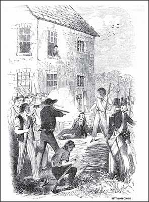 An undated illustration depicting the death of Mormon founder Joseph Smith, who was killed by a mob in Illinois while running for president in 1844.