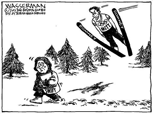 As Mitt Romney ends his term as governor and looks ahead to a possible run for president, take a look back at some of Dan Wasserman's cartoons on the outgoing Massachusetts lawmaker. Cartoon published in February 2002.