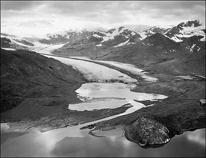 1940, The Hugh Miller Glacier, photographed by Bradford Washburn, who shot thousands of pictures of Alaskan glaciers from the 1930s to the 1960s.