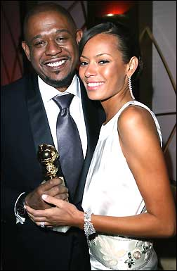 Actor Forest Whitaker, winner of 'Best Actor' award (for 'The Last King of Scotland') and wife Keisha Whitaker