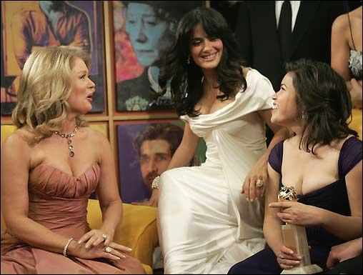 Mary Hart host of Entertainment Tonight (left) talks with producer Salma Hayek (center) and actress America Ferrera