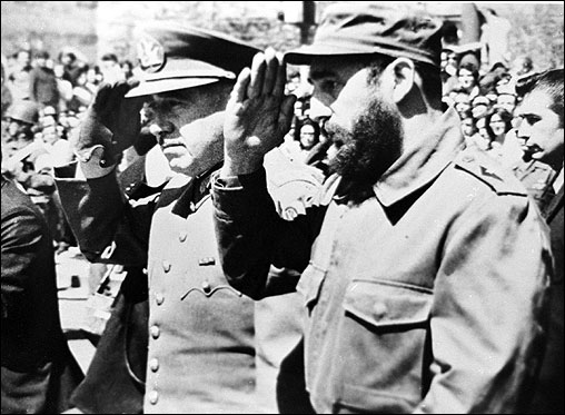 General Augusto Pinochet (left), then Chile's Army Chief, saluted alongside Castro during Castro's visit to Santiago, Chile in 1971. Castro and Pinochet, who died December 10, 2006, turned into irreconcilable enemies.
