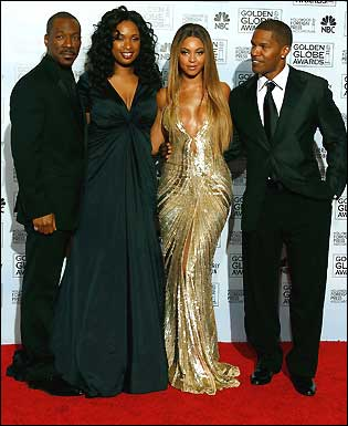 Actors Eddie Murphy, Jennifer Hudson, Beyonce Knowles, and Jamie Foxx