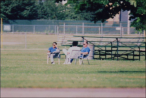 During surveillance one day, Swidwinski said he was surprised to see Bulger, Flemmi, and Weeks pull out lounge chairs and settle down for a little relaxation near the bleachers at Columbia Park. Recalling that day, Weeks told the Globe, 'We were watching the surveillance. We were watching them watch us.'' From left: Flemmi, Weeks, and Bulger sat in lounge chairs at Columbia Park in South Boston on (or around) July 3, 1989.