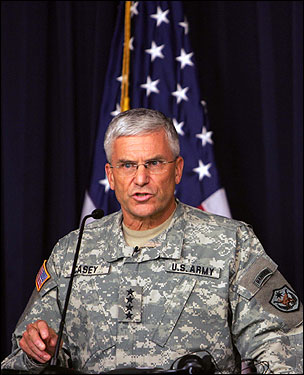 Four-star Army Gen. George Casey, commander of US forces in Iraq, is soon returning to Washington to be the Army's top office, chief of staff, and sit of the Joint Chiefs of Staff. He graduated from BC High and I believe his mother and several siblings still live in Situate and its environs.