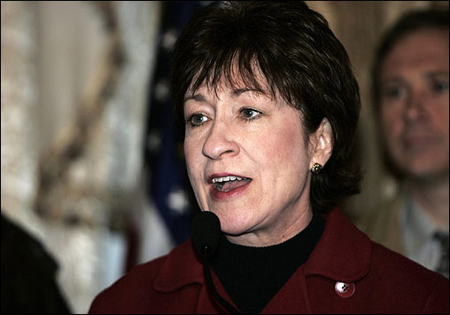 Republican Senator Susan Collins from Maine for her growing role on the environment.
