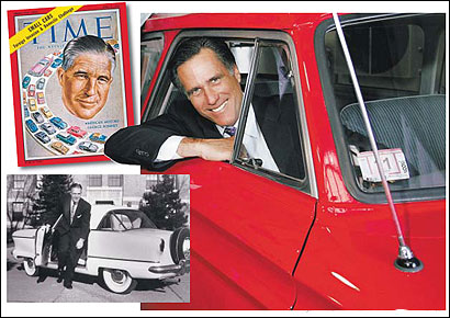 Mitt Romney sat in an AMC Rambler during a fund-raising event. His father, George Romney (left), was chairman of American Motors, and helped popularize the efficient Nash Rambler. Time magazine put him on the cover of its April 6, 1959, edition for a feature on small cars.