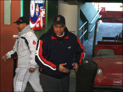 It was a cold morning at Fenway, and the activity was brisk as the equipment moving activities got underway.