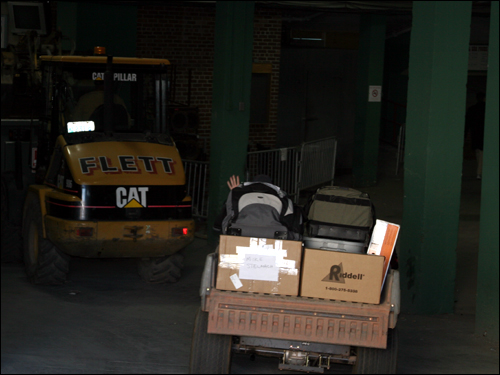 It was a busy morning at Fenway as both construction and moving activity was taking place at the park.