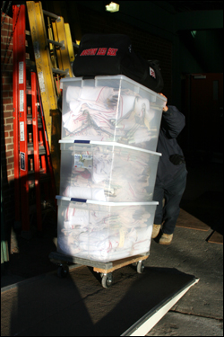 The crisp, white Red Sox uniforms were packed and loaded onto the truck.