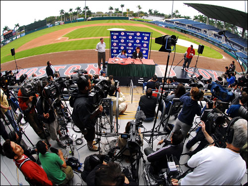 Matsuzaka and the media at City of Palms Park on Thursday.