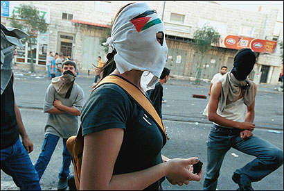 Young Arab Israelis in Nazareth after the funerals of two Arab men killed by Israeli police in October 2000, when angry demonstrations within Arab communities in northern Israel resulted in the deaths of 12 Arab citizens and one Palestinian from the territories.