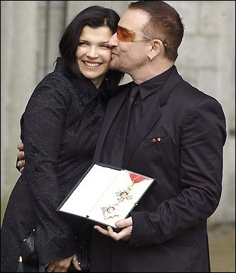 Bono married his wife on Aug. 21, 1982. They began dating in 1975 and now live in Dublin. The couple's four children -- Jordan, 17; Eve, 15; Elijah, 7; and John, 5 -- were also present at the ceremony.