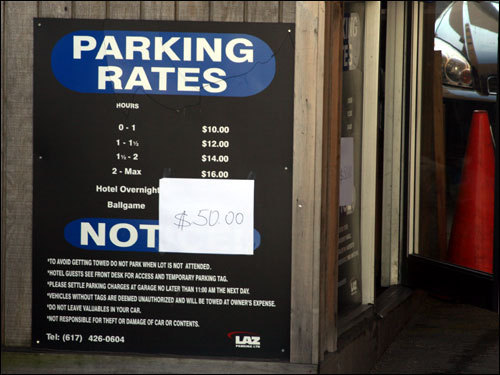 If you didn't have the patience to feed the meters all afternoon, plenty of parking was available for just $50 outside Kenmore Square.