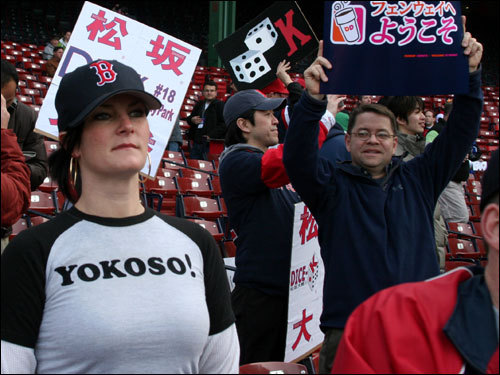 Sara Sweet, of Somerville, had a shirt made that says 'Yokoso!' -- Japanese for 'Welcome!' Sweet lived in Japan and is a big Matsuzaka fan.