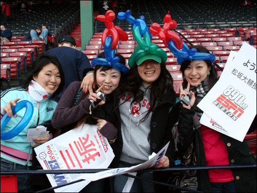 Akiko, of Tokyo, Rie, of Gunma, Hitomi, of Tokyo, and Yuki, of Kumamoto, were excited to see Dice-K's debut at Fenway. The Japanese women have been students in Boston for a year.