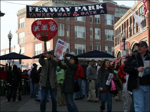 Yawkey Way started to fill with fans after the gates opened at 5:00 p.m. on what turned out to be a beautiful, but chilly, spring afternoon.