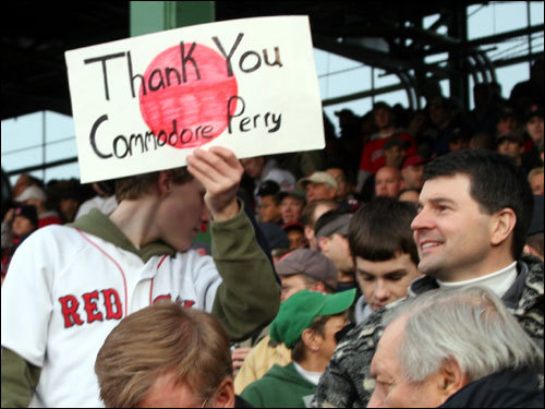 Brian Hebert, of Hingham, got extra credit in his high school history class for giving a shout-out to US Navy Commodore Matthew Perry at Fenway last night. Commodore Perry is best known for opening trade with Japan in the 1850s. Brian was crediting him as the real originator of the Dice-K acquisition.
