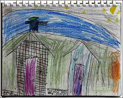 Riverside Elementary School Second-grader Will Sanborn, 7, said drawing this picture made him feel better after a chemical plant explosion destroyed part of Danvers in November.